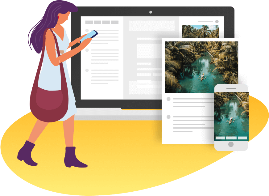 Visual Design of a women accessing her travel itinerary on her phone, with on the background visuals of a desktop, a PDF, and a mobile, Planify, Group Travel Itinerary Solution